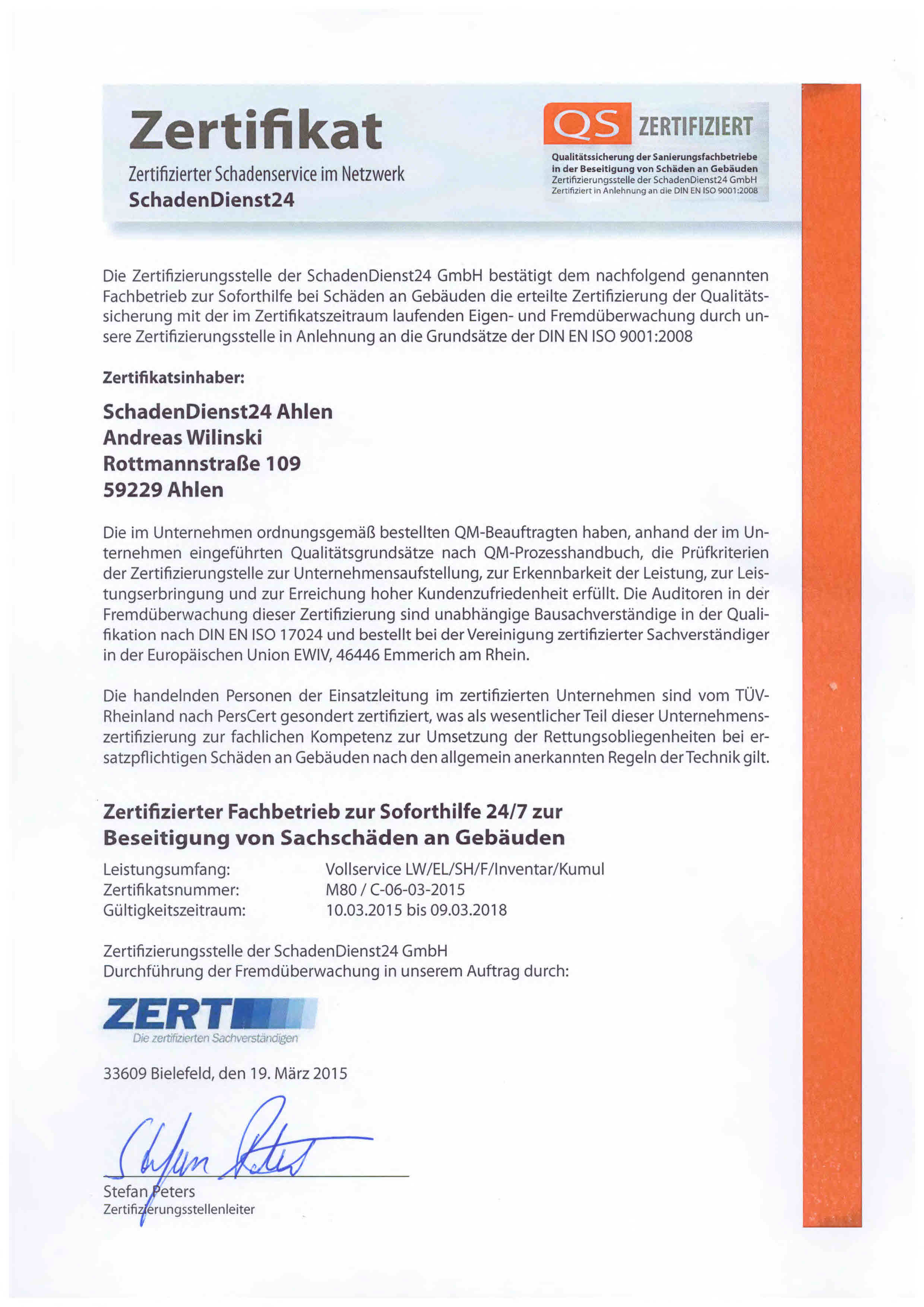 SchadenDienst24 bis 2018 zertifiziert